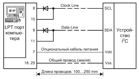 схема адаптера LPT-I2C